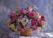 Fragrant summer bouquet of English roses, marguerites etc.