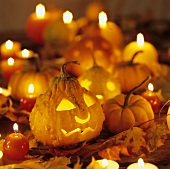 Several pumpkins and candles for Halloween