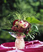 Bouquet of roses, celosia and grasses