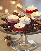 Christmassy spices, star anise, cinnamon and tea lights