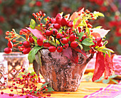 Rose hips and Boston ivy in rustic pot