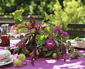 Arrangement of Dahlias, Amaranthus, dill, grapes & leaves