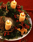 Christmas wreath with beeswax candles