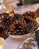 Fir cones in a silver bowl on the Christmas table