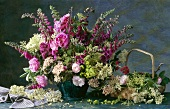 Bouquet of roses, medicinal and culinary herbs