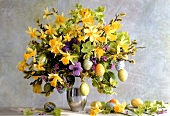 Easter bouquet of daffodils, pussy willow & Christmas roses