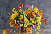 Summer bouquet with marigolds and poppies