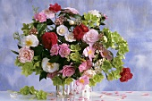 Bouquet of camellias and Christmas roses