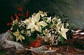 Weihnachtlicher Blumenstrauss mit weißem Weihnachtsstern