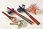 Asian chopsticks with chopstick holders and soup spoon
