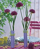 Ornamental onions in blue vases decorated with strings of beads