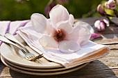 Magnolia on pile of plates with fabric napkin