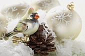 Christmas decorations in artificial snow