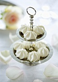 Mini meringues on a cake stand