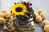 Gesteck aus Sonnenblume und Brombeerzweigen, Aprikosen