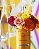 Roses and champagne glasses