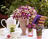 Arrangement of pinks, Ageratum and Lobelia