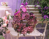 Wreath of hydrangeas and roses
