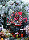 Chair decorated for Christmas in open air