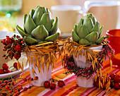 Two arrangements with artichokes