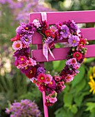 Heart-shaped wreath of asters