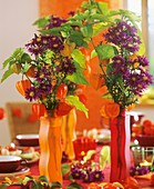 Michaelmas daisies in red and orange glass vases