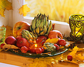 Autumn leaves, artichokes, apples & ornamental apples
