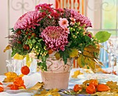 Chrysanthemums in pink vase