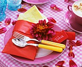 Place-setting with dahlia and place card