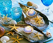 Large sea shells with sand, starfish and candles