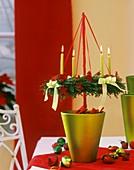 Hanging Advent wreath in flower pot