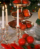 Christmas decoration with candlestick & tiered silver stand