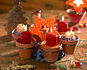 Advent wreath of small terracotta pots in metal holder