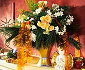 Arrangement of Begonia, false cypress, Tazetta narcissus & pine