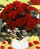 Red roses ('Grand Prix') with trailing ivy