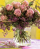 Bouquet of roses, bilberry foliage and sea lavender