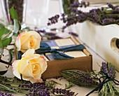 Lavender, roses, lavender and rose soap