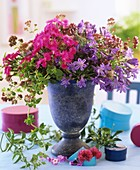 Vase of Dianthus, Agapanthus and Oregano
