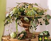 Artichokes, ivy, Skimmia, Eucalyptus and myrtle