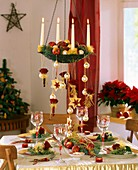 Festive table decoration for Christmas