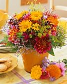 Dahlia, marigold, dill, Coreopsis, sea lavender, Dianthus
