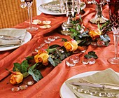 Roses and ivy as festive table garland