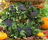 Wreath made from bunches of lavender and oak leaves
