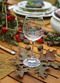 Autumnal table decoration: oak leaves used as coaster