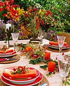 Laid table decorated with berries
