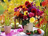 Arrangement: dahlias, marigolds, camomile, Aster & Amaranthus