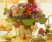 Autumn arrangement of asters, Viburnum fruits etc.