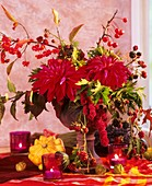 Autumnal arrangement of dahlias, Amaranthus and berries