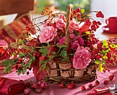 Basket of roses, rose hips, hawthorn and Boston ivy