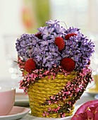 Hyacinths and daisies in a pot with broom